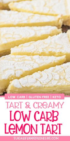 A creamy lemon low carb tart that's also gluten-free, and keto friendly. This is an easy low carb baking recipe that takes no time at all to pull together. An almond cookie like crust, topped with smo Low Carb Sweets, Low Carb Desserts, Healthy Desserts, Low Carb Recipes, Low Carb Cakes, Diet Desserts, Sugar Free Desserts, Lemon Desserts, Gluten Free Desserts
