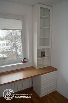 Customized table and cabinet around the window to order - - Home Interior Design, Modern Home Interior Design, Interior Design Bedroom, Guest Room Office, House Interior, Home Room Design, Kids Room Design, Interior Design Living Room, Home Office Design