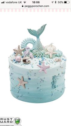 Mermaid CakeUnder the sea! This rippled mermaid buttercream cake is decorated with golden shells, pastel sea horses, pearlescent meringue kisses and topped with a blue mermaid tail.The cake shown on the image is a 6 inch. This cake will be supplied on a s Mermaid Tail Cake, Mermaid Cakes, Mermaid Birthday Cakes, Birthday Cake Girls, 5th Birthday, Birthday Ideas, Rodjendanske Torte, Peggy Porschen Cakes, Cake Show