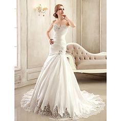 Trumpet / Mermaid Petite / Plus Sizes Wedding Dress Chapel Train Strapless / Sweetheart Satin with – USD $ 279.99