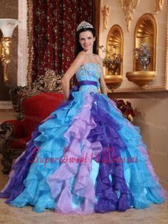 Multi-color Sweet 16 Dress Sweetheart Organza Beading and Appliques Ball Gown