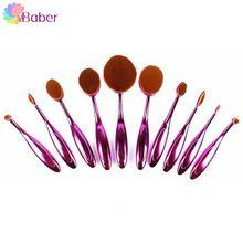 7 Oval Cor Makeup Brushes Set Professional Make Up Blush Em Pó Foundation Pincel Blending Sobrancelha Fã Contorno Kit Escova De Dentes(China (Mainland))