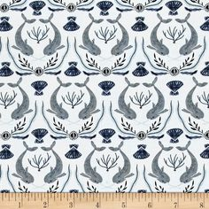 Dear Stella Into The Reef Narwhal Damask White from @fabricdotcom  Designed by Rae Ritchie for Dear Stella Designs, this cotton print collection whimsical nautical prints- from mermaids to octopi! Perfect for quilting, apparel, and home decor accents. Colors include shades of blue, grey, and white.