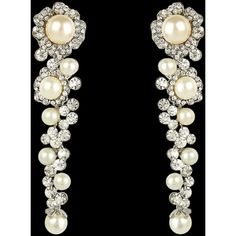 16 Braunton Bridal Flower White Pearl Dangle Zircon Crystal Earrings ($43) ❤ liked on Polyvore featuring jewelry and earrings