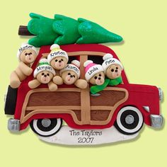Belly Bear Family of 6 in Woody Wagon HANDMADE POLYMER CLAY Personalized Christmas Ornament                                                                                                                                                                                 More
