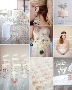 Silver, taupe, white and blush accents Vintage Glamour Wedding, Glamorous Wedding, Wedding Beauty, Dream Wedding, Pink Ruffle Cake, Blush Wedding Cakes, Wedding Movies, Wedding Stuff, Sparkle Wedding