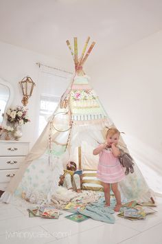 Beautiful bedroom teepee for a little girl. Custom order for Glam teepee with order form by DollyandFrances Girl Nursery, Girl Room, Girls Bedroom, Baby Room, Teepee Nursery, Nursery Room, Kids Tents, Teepee Kids, Teepees