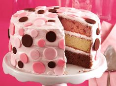 Can't decide between strawberry, chocolate or vanilla? No problem: Just mix up this super cute, tri-flavor cake that's covered in pretty strawberry frosting and fondant polka dots. Fondant is in the baking aisle, and can be dyed with food coloring to make whatever color scheme you like.