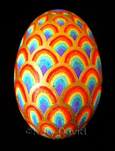 ©Katy David, Friday Egg: Second Hand Rainbows, Goose Egg Pysanky and 23K Gold