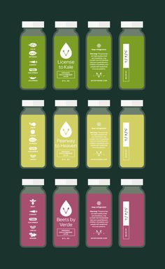 Verde organic juice labels. License to Kale by Jay Fletcher PD