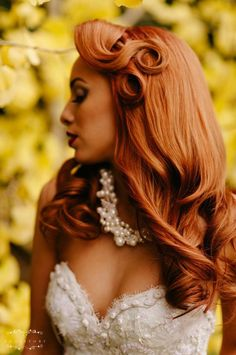 """Vintage pin-curled updo. Can you say """"WEDDING HAIR!!"""""""
