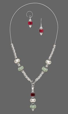 Jewelry Design - Single-Strand Necklace and Earring Set with Swarovski Crystal and Silver-Plated Brass Beads - Fire Mountain Gems and Beads