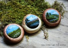 needle felted landscape brooches by Lisa Jordan of lil fish studios
