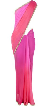 Pink ombre sari by SONAL KALRA AHUJA. hop now only at www.perniaspopupshop.com! #sonalkalraahuja #ombre #pink #sari #ethnic #perniaspopupshop #designer #fashion #style #chic #trendy #clothes #shopnow #happyshopping