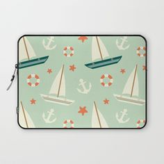 Laptop Sleeve with cute colorful sailboat pattern with anchor and lifebuoy by Alice Vacca #laptop #sleeve #boat #cute #pattern #sail #anchor #lifebuoy #blue #vintage #sea #technology