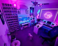 Neon Bedroom, Bedroom Setup, Room Ideas Bedroom, Computer Gaming Room, Gaming Room Setup, Gaming Rooms, Pc Setup, Gaming Chair, Chill Room
