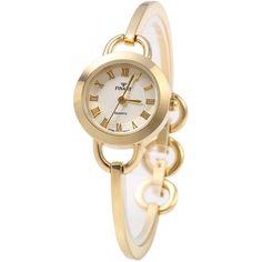 Thaitime Golden Case Female Bracelet Quartz Watch Alloy Band (12 BRL) ❤ liked on Polyvore featuring jewelry, watches, quartz wrist watch, golden watches, quartz jewelry, golden jewellery and quartz watches