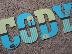 Hand Painted Wooden Letters- Summer Infant Giggle Gang (Large) on Etsy, $14.00