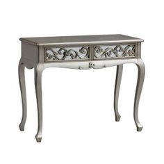 Antique Silver Rococo 2 Drawer Dressing Table