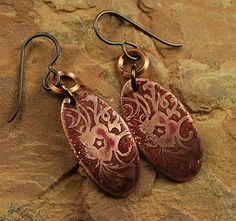Copper Etched Metal Earrings Brown Flowers E508 by ccjewelrydesign, $22.00