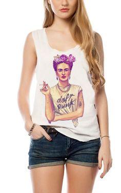 Frida Kahlo Daft Punk Tank Top Women T-shirt #Unbranded #VestTopStrappyCami #Casual