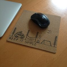 MOUSE PAD Made with real cork wood Mousepad Keep it by TheEcoOwl