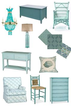 Color inspiration: Turquoise   cottage style home decor...like all but the crystal chandelier ...(isn't there a song by that title??)