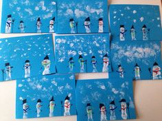 Thank you Christmas cards snowman finger printing