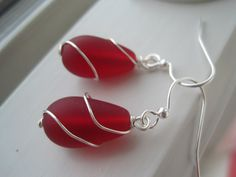 Red Sea Glass Silver Plated Wire Wrapped by Sparkleandswirl, $12.00