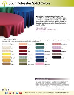 Clickable Spun Polyester Swatch Card (26 Colors) — You won't believe it's not cotton! This 100% Spun Polyester fabric has the look and feel of cotton, but provides the benefits of a polyester. Spun Polyester is easy to care for, durable, and absorbs spills. Great for holding napkin folds. This is not just a PDF file — Item Numbers are linked to that iterm on our website where you can order. Fabric samples are available! Reception Decorations, Event Decor, Dinning Etiquette, Our Wedding, Wedding Ideas, Bright Decor, Food Bars, June 3rd, Napkin Folding