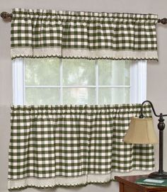 "Buffalo Check Gingham "" Curtain Valance and Tier Set"