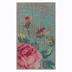 Flowers Wool Rug - Canevas Gan Rug by Charlotte Lancelot Flowers Rug from the Canevas Space Collection by GAN Rugs. Cross-stitch that's reinterpreted in felted Abstract Flowers, Colorful Flowers, Colorful Rugs, Cross Stitching, Cross Stitch Embroidery, Unique Rugs, Hand Tufted Rugs, Cross Stitch Flowers, Wool Felt