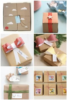 Colorful brown paper packaging. Brown Paper wrapping is my favorite!!