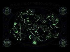 Travelers of The Solar System - Glow In The Dark Screenprint. $55.00, via Etsy.