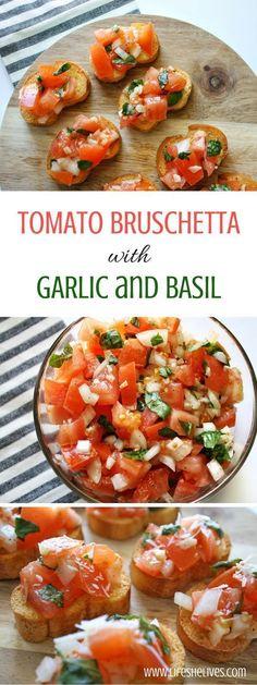 Tomato bruschetta is always a crowd favorite over the holidays, at parties or even as a quick appetizer before dinner at him. Quick and super easy to make! appetizers Tomato Bruschetta With Garlic and Basil Quick Appetizers, Appetizer Recipes, Dinner Recipes, Delicious Appetizers, Avacado Appetizers, Prociutto Appetizers, Tomato Appetizers, Mexican Appetizers, Elegant Appetizers