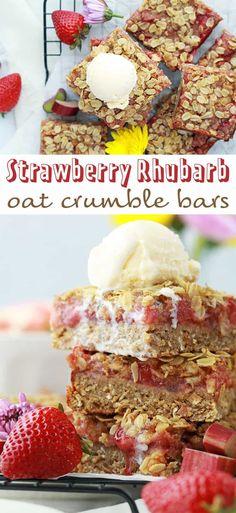 Strawberry Rhubarb Oat Crumble Bars
