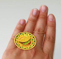 Kawaii Cute Miniature Food Ring - Mexican Night Plate of Taco. $10.00, via Etsy.