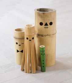 """Dolls made out of bamboo with wood-burned details. They are part of """"Hobby"""", an ongoing series of handmade toys by Acne JR, a Swedish toy company, which is part of the Acne Group. Bamboo Art, Bamboo Crafts, Bamboo Ideas, Fun Crafts, Arts And Crafts, Frederique, Modern Toys, Desk Toys, Toy Puppies"""