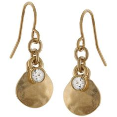 Lauren Ralph Lauren -Tone Hammered Drop Earrings with Crystal Accent ($24) ❤ liked on Polyvore featuring jewelry, earrings, gold, lauren ralph lauren, earrings jewelry, hammered jewelry, drop earrings and round pendant
