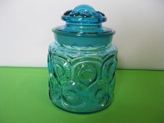 """L E Smith Moon and Stars Peacock Blue 6 1/4"""" Coffee Canister Made in USA"""