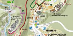 Picture: Map of the the village of Hohenschwangau path to castle from parking or bus Local Map, Tourist Info, Neuschwanstein Castle, Travel Planner, Spain Travel, Public Transport, Germany Travel, Car Parking, Maps