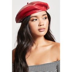 Forever21 Faux Leather Beret ($15) ❤ liked on Polyvore featuring accessories, hats, red, forever 21 hats, faux leather hat, forever 21, red hat and crown hat