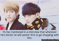 "EXO FACT ♡ #KPOP - 74 ""Hyung, can you buy me this?"" - Tao ""Do I look like I have money?"" - Kris ""Yeah, you have loads of money."" - Tao"