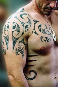 Maori style shoulder #Tattoo by Shane Gallagher Coley, currently working @ Chapel Tattoo, Melbourne, Australia