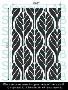 Wall Decor Stencil- Floral Pattern Stencil - Wall Stencil With Leafs Motive