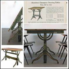 "FOR SALE as of 6/24/13.  1910 Hamilton company drafting table. ""$795"" Facebook.com/RnMVintage  Industrial, kitchen table, work table, office space, desk, vintage, steampunk"