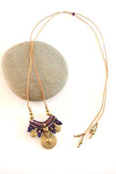 tribal macrame pendant purple and gold boho by yasminsjewelry