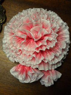 Carnation Ribbon Flower Millinery Applique Brooch