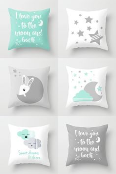 Mint and gray gender neutral nursery decor - modern nursery throw pillows by Limitation Free on Society6