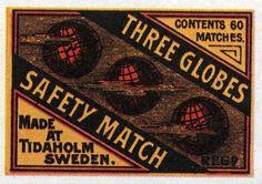Three Globes #Globe #Tidaholm #Sweden #maapallot #etiketit #matchbox #labels #tulitikut